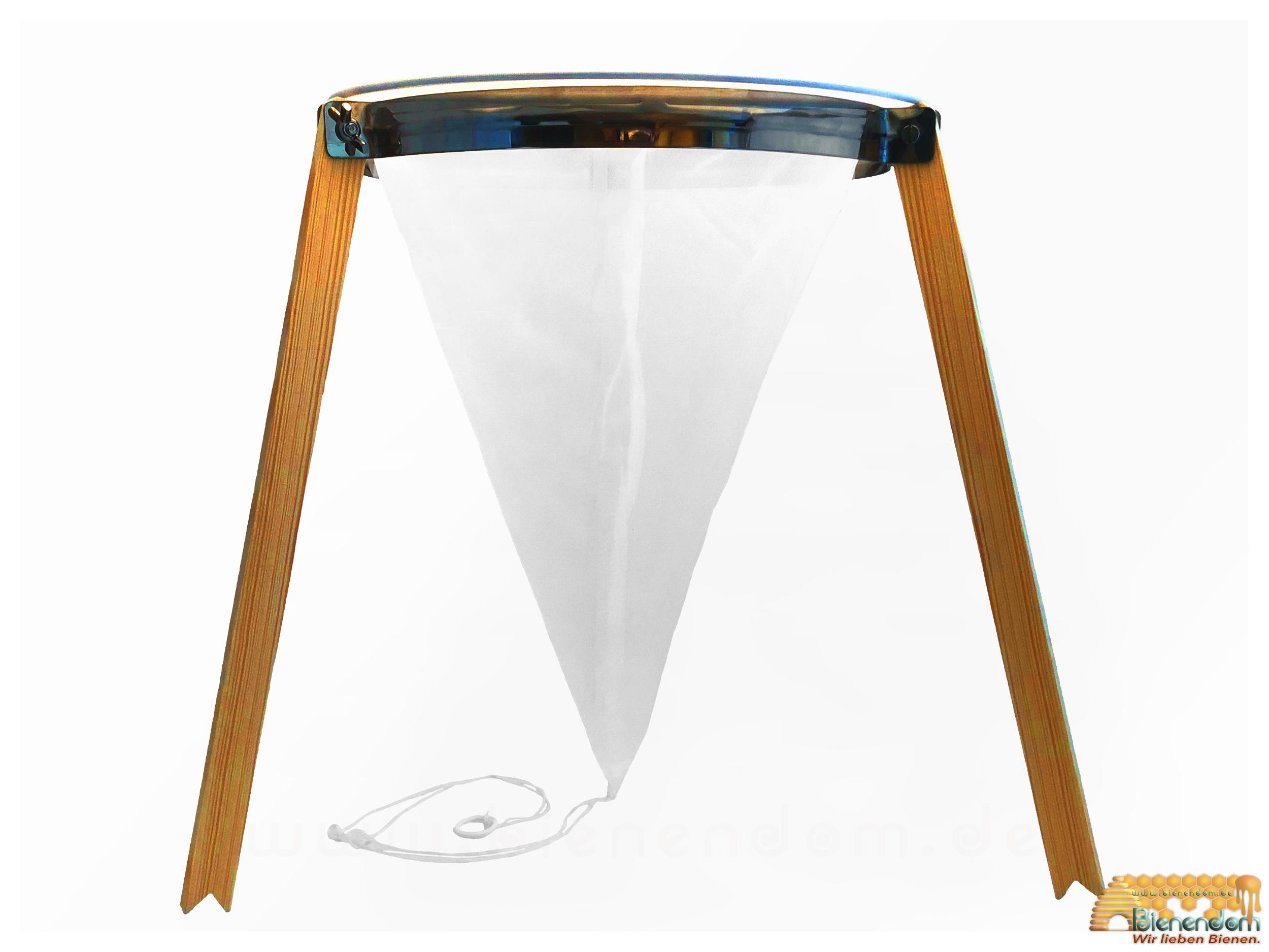 Dreibein Stativ | Holz mit Metallring | für Spitzsiebe